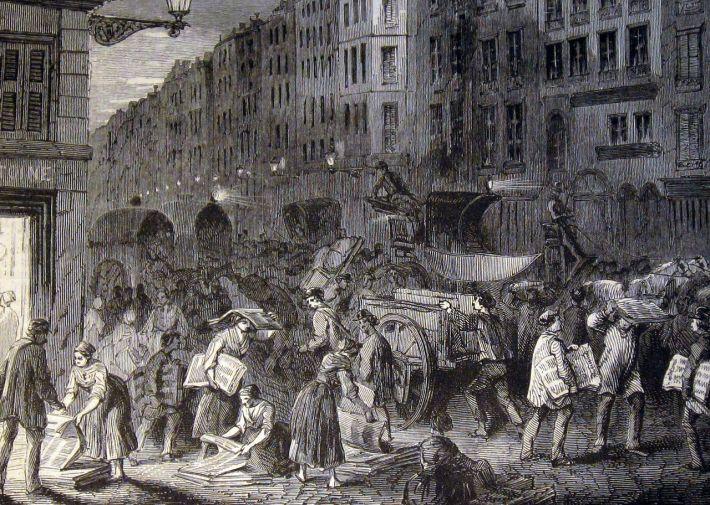 L illustration 1849_Newspaper_market,_Paris_1848